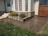 Stone patio and Planter