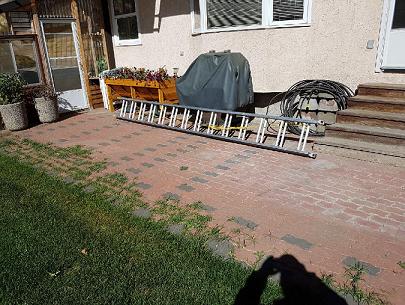 Brick patio requiring restoration